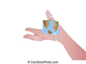 vetorial, ilustração, mão feminina