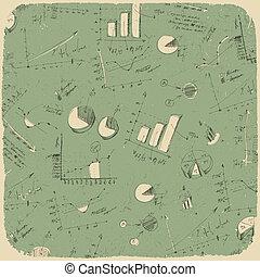 vetorial, ilustração negócio, charts., eps10., fundo, retro, denominado