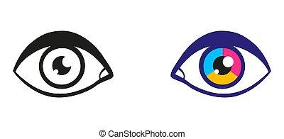 vetorial, ilustração, olhos