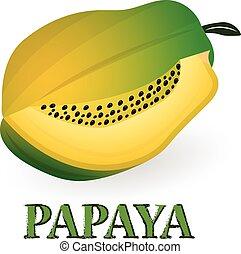 vetorial, ilustração, ., papaia, branco, fundo