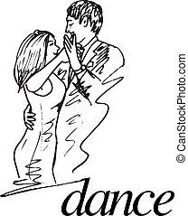vetorial, ilustração, par, jovem, esboço, dançar.