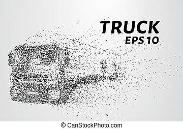 vetorial, ilustração, particles., consiste, carrega, circles., caminhão, pequeno, carro., pedaço, vento