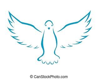 vetorial, ilustração, pomba, voando