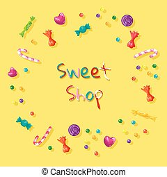 vetorial, ilustração, quadro, bala doce, sweets.