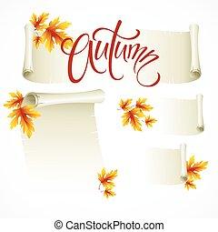 vetorial, ilustração, -, scroll, quadro, de, outono sai