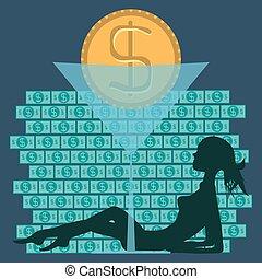 vetorial, ilustração, simboliza, financeiro, edições, em, a, sociedade, partido, mulher, e, dinheiro