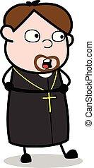 vetorial, -, ilustração, tendo, conversação, padre, ...