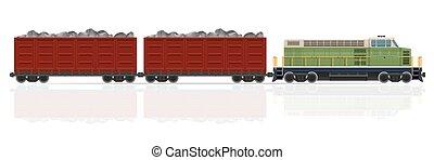 vetorial, ilustração, trem, vagões, estrada ferro,...