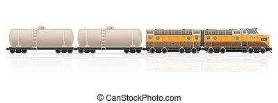 vetorial, ilustração, trem, vagões, estrada ferro, locomotiva