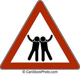 vetorial, ilustração, um, símbolo, de, amigos, silhuetas