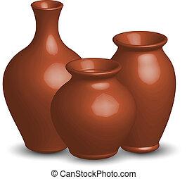 vetorial, ilustração, vasos