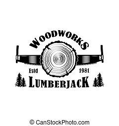 vetorial, ilustração, woodworks, emblema