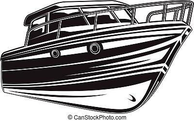 vetorial, ilustração, yacht.