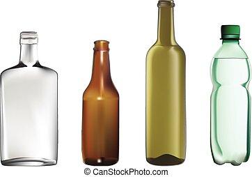 vetorial, ilustrações, de, garrafas