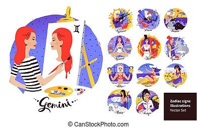 vetorial, ilustrações, signos, jogo, sinais