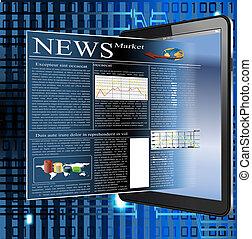 vetorial, imagem, de, notícia, em, palmtop