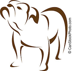 vetorial, imagem, de, um, cão, (bulldog)