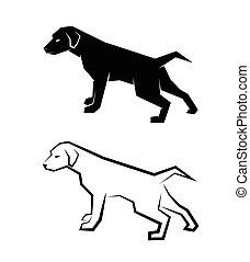 vetorial, imagem, de, um, cão