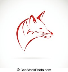 vetorial, imagem, de, um, cabeça raposa, branco, fundo