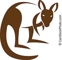 vetorial, imagem, de, um, canguru