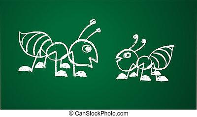 vetorial, imagem, de, um, formiga