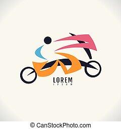 vetorial, imagem, símbolo, desporto, experiência., bicicleta, desenho, human, ícone, branca, abstratos, logotipo