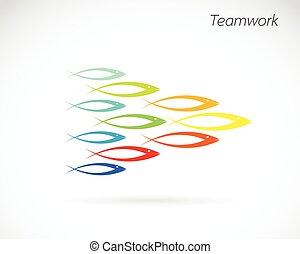 vetorial, imagens, de, a, desenho, de, fish., trabalho equipe, conceito
