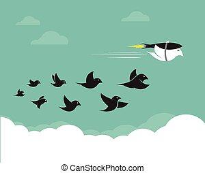 vetorial, imagens, de, pássaros, e, foguetes, em, a, sky.