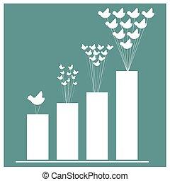 vetorial, imagens, de, pássaros, e, negócio, gráfico, ligado, experiência azul