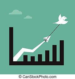 vetorial, imagens, de, pássaros, e, negócio, gráfico