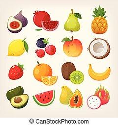 vetorial, imagens, fruta, jogo, icons.