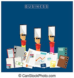 vetorial, importante, documento, analisar, tecnologia, apresentação gráfico, braço, e, mão