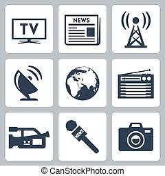 vetorial, imprensa massa, ícones, jogo