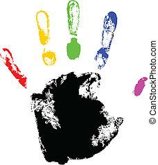 vetorial, impressão mão, com, arco íris, dedo