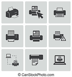 vetorial, impressora, jogo, balck, ícones