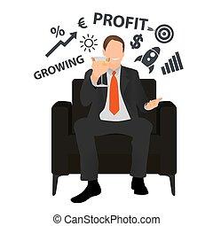 vetorial, incorporado, levanta, sucesso, cadeira, escritório, growth., concept., homem negócios, negócio, senta-se, partido., feliz, toast., partido, sucedido