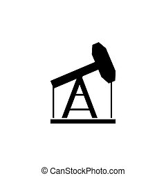 vetorial, indústria, ícone, óleo, apartamento, pumpjack