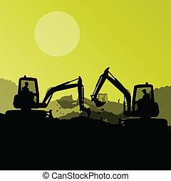 vetorial, industrial, cavando, escavador, máquinas, trabalhadores, local, ilustração, tratores, construção, hidráulico, fundo, carregadores