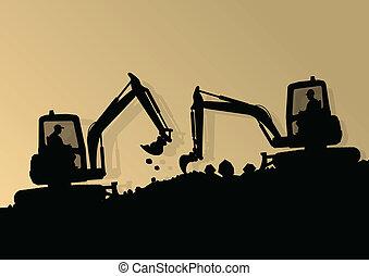 vetorial, industrial, cavando, escavador, trabalhadores, ...