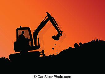 vetorial, industrial, cavando, escavador, trabalhadores, local, ilustração, carregador, máquina, construção, hidráulico, fundo, trator