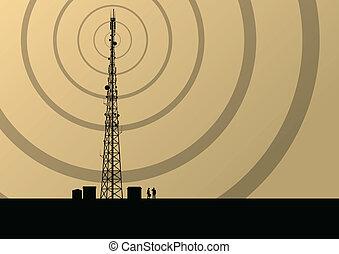 vetorial, industrial, telefone móvel, conceito, rádio,...