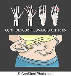 vetorial, injeção, controle, jogo, estômago, artrite ...