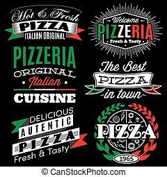 vetorial, inscrições, jogo, emblemas, pizza