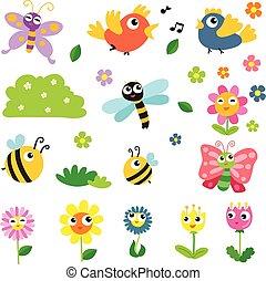 vetorial, inseto, flor, desenho, cobrança