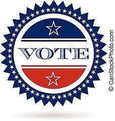 vetorial, insignia, voto, logo., projeto gráfico, americano
