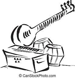 vetorial, instrum, clássico, oriental
