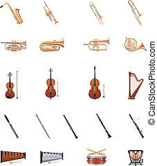 vetorial, instrumentos, de, a, orquestra