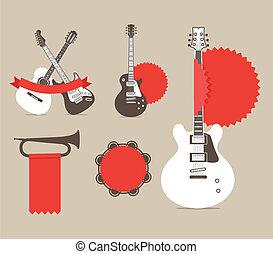 vetorial, instrumentos música, com, vermelho, fitas, e,...