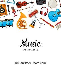 vetorial, instrumentos musicais, fundo