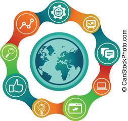 vetorial, internet, conceito, com, globo